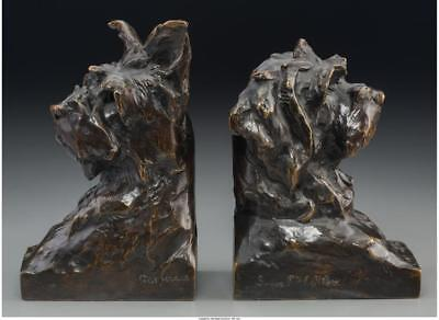 A PAIR OF MAXIMILIEN LOUIS FIOT PATINATED BRONZE TERRIER DOG BOOKEN... Lot 65325