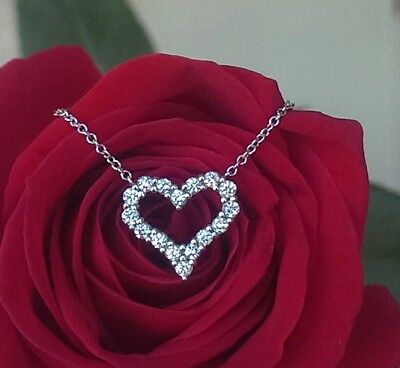 """Tiffany & Co 0.25tcw Diamond Pinched Heart Pendant/Necklace 16"""" Platinum Chain"""