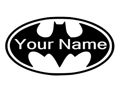 ~L~ BATMAN Logo w/ Name Vinyl Decal for Wall LARGER * CUSTOM Decals Available *