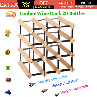 Timber Wooden Wine Racks Cabinet 12 Bottles Wall Mount Storage Stand heavy duty