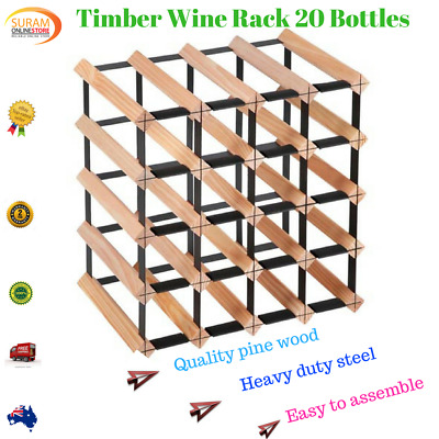 New 20 Bottle Timber Wine Rack Steel complete Storage Wooden Stand heavy duty