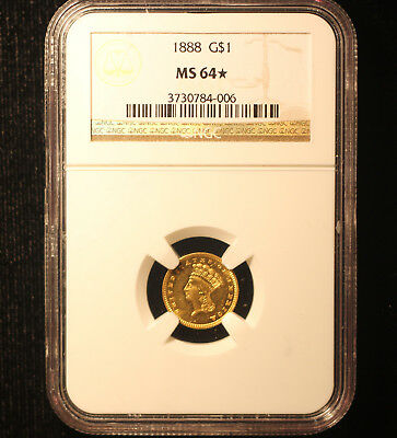 1888 $1 Gold NGC Certified MS64* Star - Only star out of 200 MS64's at NGC