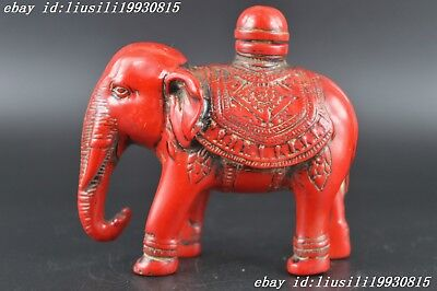 China decorative carved elephant shaped coral snuff bottle