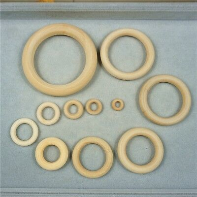 Unfinished Natural Untreated Plain Wooden 15mm-100mm Wood Round Ring DIY