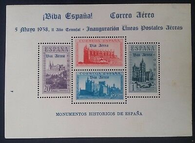 RARE 1938 Spain Historical Monuments Minisheet with 4 stamps & Airmail O/P Mint