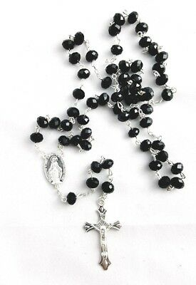 Crystal Glass Rosary Beads Necklace - Black