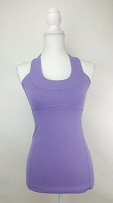 Lululemon Scoop Neck Halter Yoga Fitness Tank Top Size 4 Lilac Purple racerback