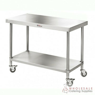 Mobile Workbench with Undershelf 2400x700x900mm Kitchen Simply Stainless NEW
