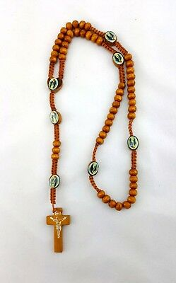 Brown Wooden Rosary Beads Necklace