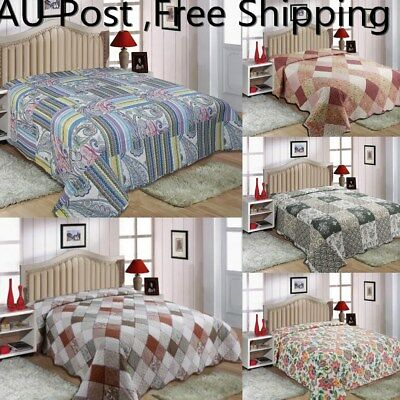 AU Coverlet /Quilted Throw  Bedspread Queen King Size Bed 220x240CM Patchwork