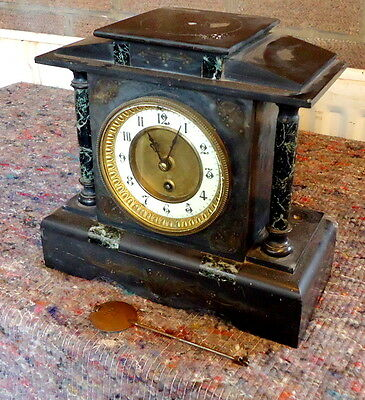"""SLATE & MARBLE"" Mantel Clock for Restoration or Spares with Pendulum."