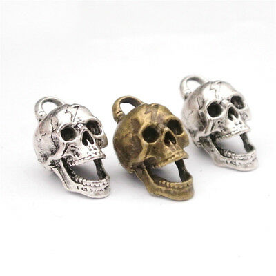 Antique Bronze Silver Ghost Skull Skeleton Pendant Charms Jewelry Making US