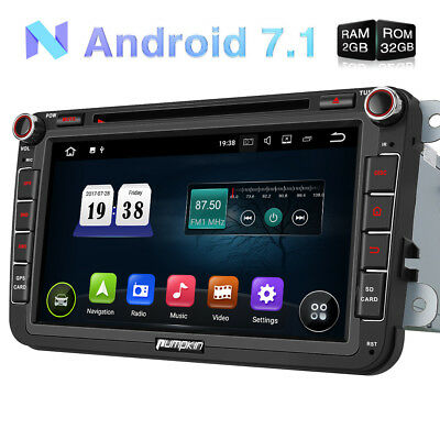 "Android 7.1 32GB 2GB OBD2 8"" Autoradio DVD Player GPS DAB+ für Golf Jetta Passat"