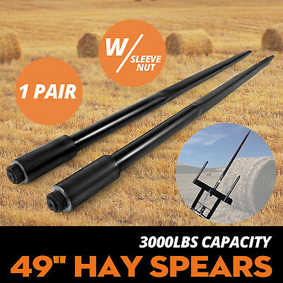"""Two 49"""" 3000 lbs Hay Spears Nut Bale Spike Fork Pair Tine Conus 1 3/4"""" Wide"""