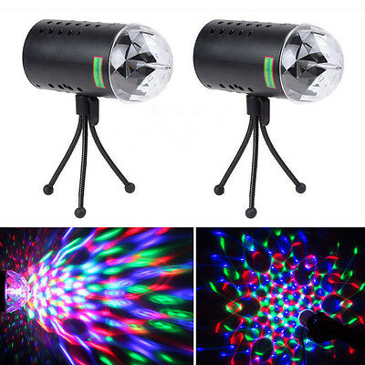 2x 360°Rotating Laser Projector LED RGB DJ Disco Light Stage Lighting Show Party