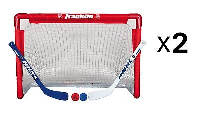 Franklin Sports Indoor Outdoor Youth Mini Kids Hockey Goal Stick Set (2-Pack)