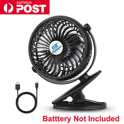 Portable Clip On Mini Fan 3 Speed Strong Airflow USB Office Student Desk Tent AU