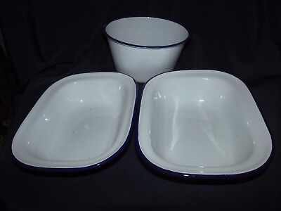 Enamelware 3x. Dishes Bowls Blue White Metal Camping Cooking BBQ