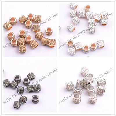 10/20Pcs Big Hole Crystal Rhinestone Pave Rondelle Spacer Beads European Charms