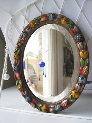 Vintage Small Bevelled Mirror With Fruit & Flowers On Frame