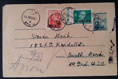 SCARCE 1950 Yugoslavia Registered Cover ties 3 stamps cancelled Mol