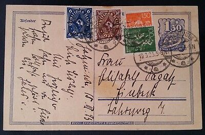 SCARCE 1923 Germany Postcard ties 5 stamps cancelled Holzminden