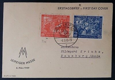 1949 Germany (Soviet Occpn Zone) Leipzig Spring Fair FDC ties 2 stamps