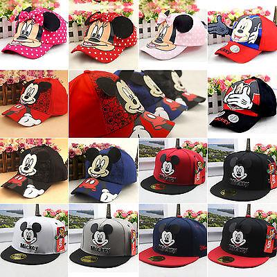 Boy Girls Disney Mickey Minnie Mouse Baseball Hat Kid Bowknot Outdoor Peaked Cap