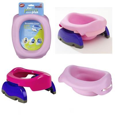 VALUE PACK Potette Plus Potty + 3 liners + Carry Bag & Reusable Potty Liner PINK