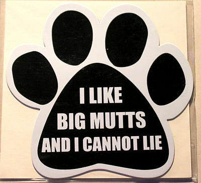 I Like Big Mutts And I Cannot Lie Dog Paw Quote Car Magnet