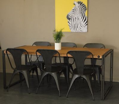 Industrial Rustic Metal Timber 7 Piece Dining Dinning Suite Table & Chairs