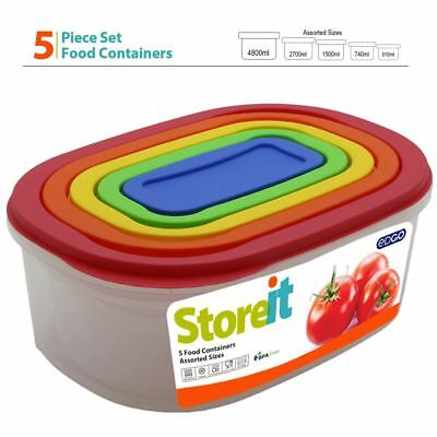 5pc Stackable Rainbow Oval BPA Free Plastic Container Set Food Storage Box Size