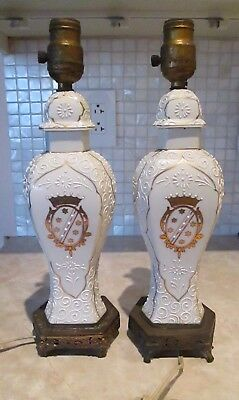 Rare Pair of Antique French Porcelain Lamps w Armorial Crest on Brass Base
