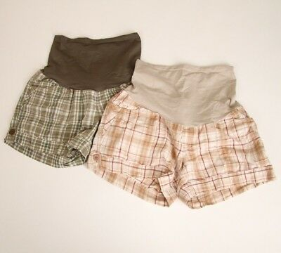 Oh Baby Motherhood Maternity Shorts Medium Plaid Checkered Full Belly Panel Lot