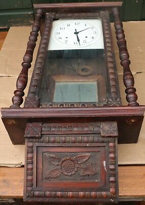 Old Large Very Fancy Looking Carved Wall Clock To Restore