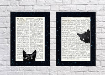 2 - Black Cat Head Prints Vintage Dictionary Page Wall Art Pictures Upcycled