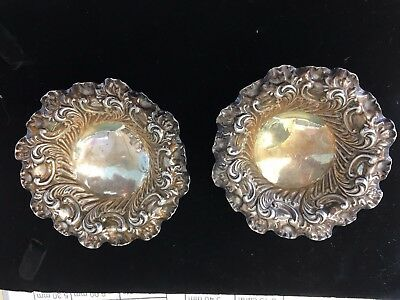 pair of Antique Victorian Sterling silver bon bon dishes