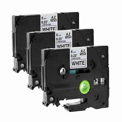 3PK Black on White Label Tape TZ TZe-211 0.24'' for Brother P-touch printer 6mm