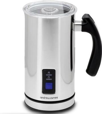 Andrew James Stainless Steel Electric Milk Frother Jug Warmer Hot Cold Whisk