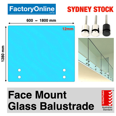 12mm Standoff Glass Panel Clear Toughened Frameless Balustrade Pool Fencing DIY