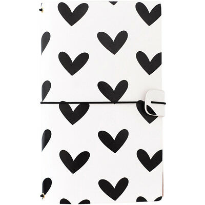 "Freckled Fawn Sleek Traveler's Notebook 9""X5.75"" Black & White Hearts TNS01"