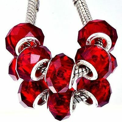 5Pcs silver Plated Charm Red CZ Glass Large Charm Beads For chain Bracelet