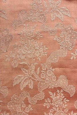 Antique French Sienna-Peach Home Dec Jacquard Roses & Lace Fabric c1910-1920