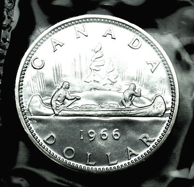 1966 Canadian silver $1 coin:  gorgeous prooflike in original mint plio