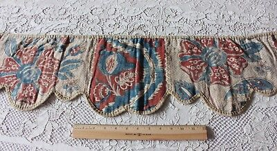 French 18thC Antique HandBlocked Indigo & Red Toile de Rouen Valance Fabric