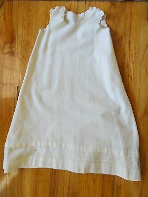 Antique Girl's Wool Petticoat Under Garment Slip W/ EMB Detail Grow Hem Cream
