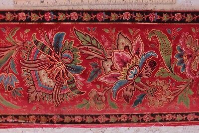Antique French Indienne Hand Blocked/Painted Turkey Red Border Fabric c1830-1850