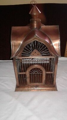 Vintage Gothic Bird Cage Copper ColoredMetal with Swing and Removable Tray
