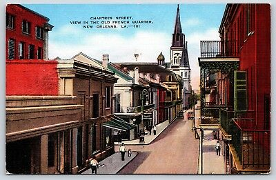 Chartres Street View Old French Quarter in New Orleans, Louisiana Linen Postcard
