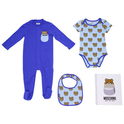 Moschino set regalo blu tutina body e bavetta